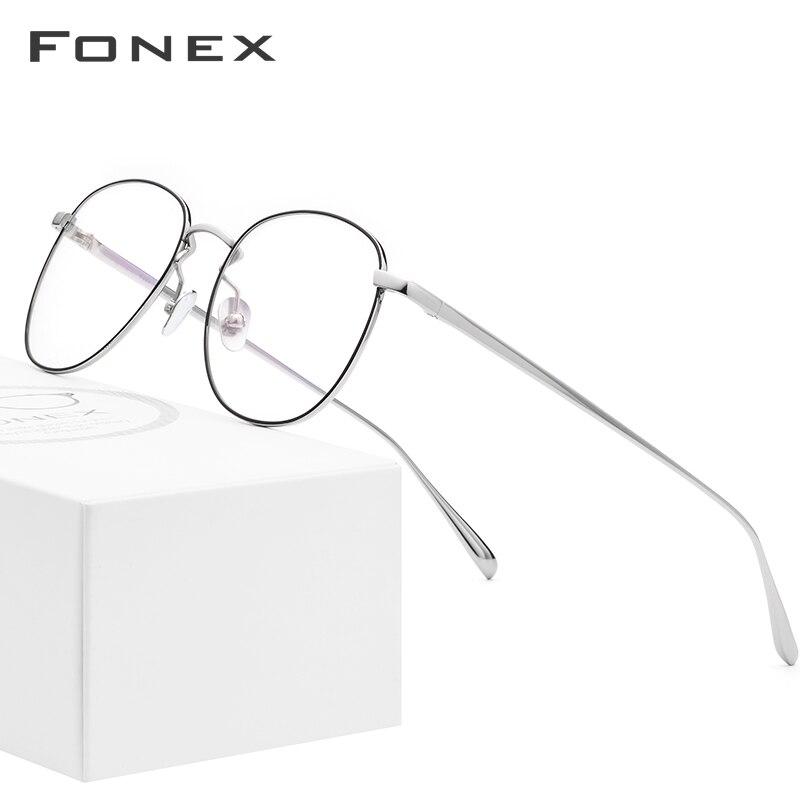 FONEX lunettes de Prescription en titane pur hommes ultra-léger rétro rond myopie optique lunettes cadre femmes 2019 lunettes rétro 883
