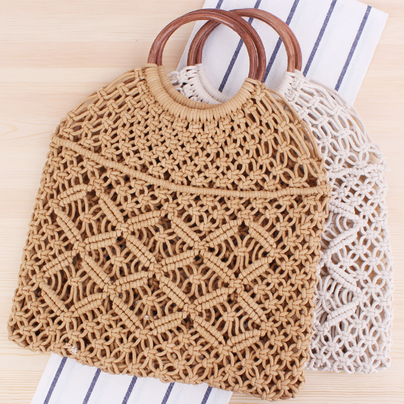 Lovevook Women Handbags Woven Bag Cotton Rope With Wooden Top-handle Beach Bags For Summer 2020 Straw Bags For Travel/shopping