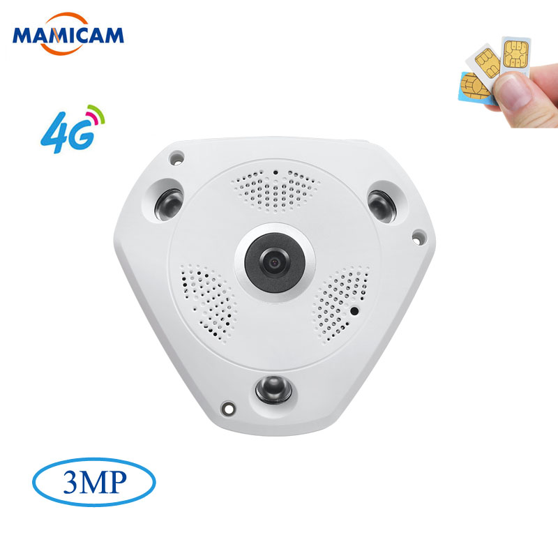 3MP IP Camera3G 4G GSM SIM Wireless IP Camera IR-CUT Night Vision CCTV Video Surveillance Onvif Cameras Fisheye 360 Degree