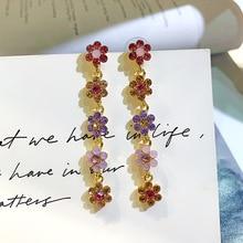 S925 Silver needle retro color rhinestone flower earrings female cool wind temperament Joker long tassel for women