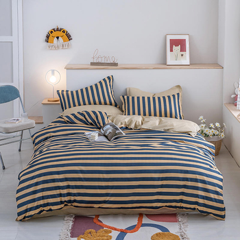Solstice Bedding Set Blue And Peach Stripe