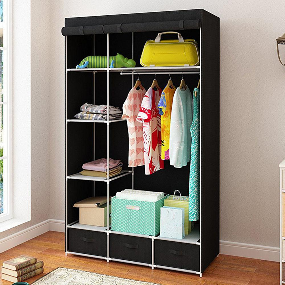 Modern Non-woven Cloth Wardrobe Baby Storage Cabinet with Drawer Bedroom Furniture