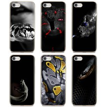 Custodia morbida Pazzo Nero Pitone pelle di Serpente Viper Carta Da Parati Per il iPhone 11 Pro 4 4S 5 5S SE 5C 6 6S 7 8X10 XR XS Plus. Max Per iPod Touch(China)