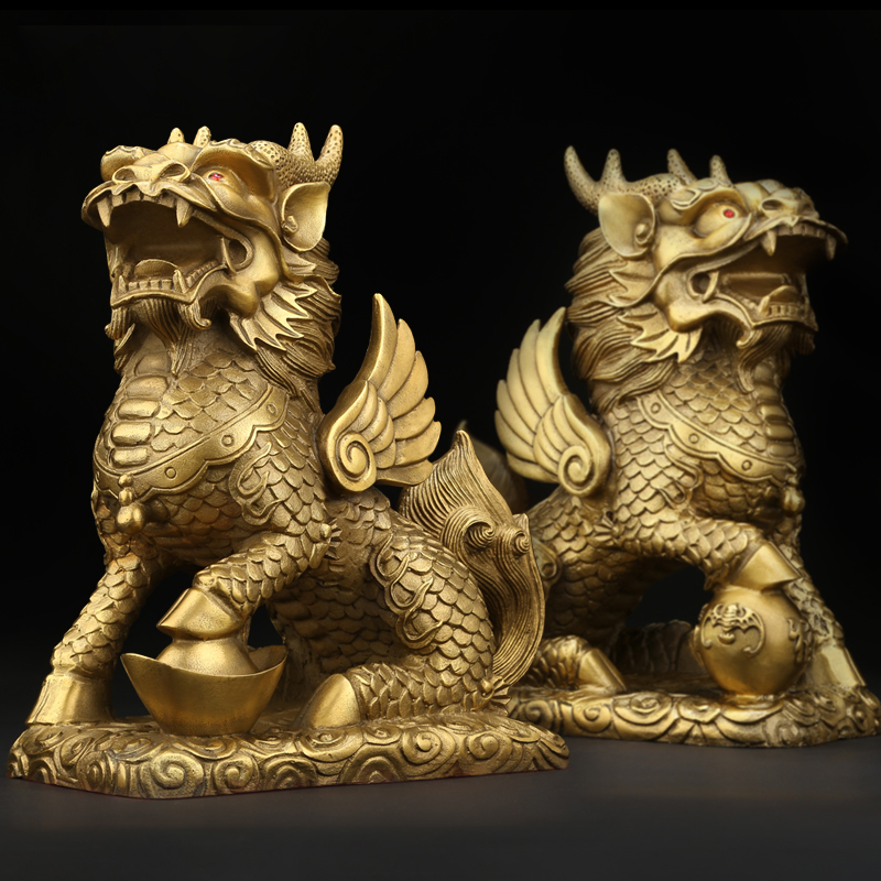 Feng Shui Set of Two Golden Brass Chi Lin/Kylin Wealth Prosperity Statue Home Decoration Attract Wealth and Good Luck