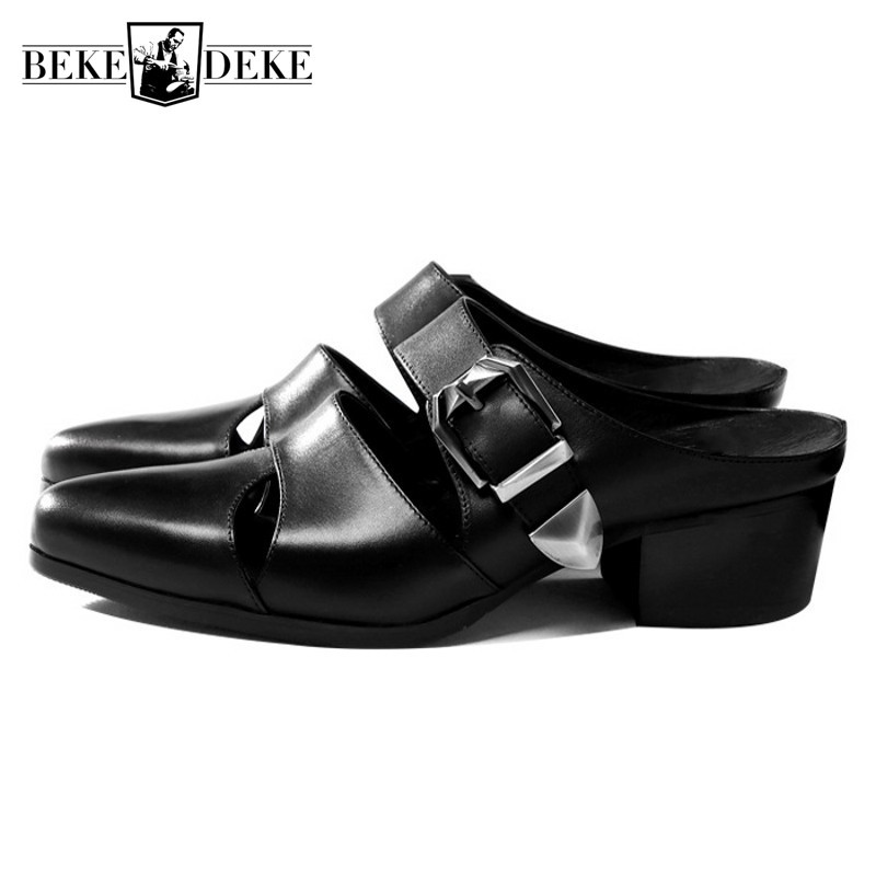 Novelty Genuine Leather Mens Slippers Pointed Toe Business Summer Hollow Leather Shoes Top Brand British Buckle Sandals Black