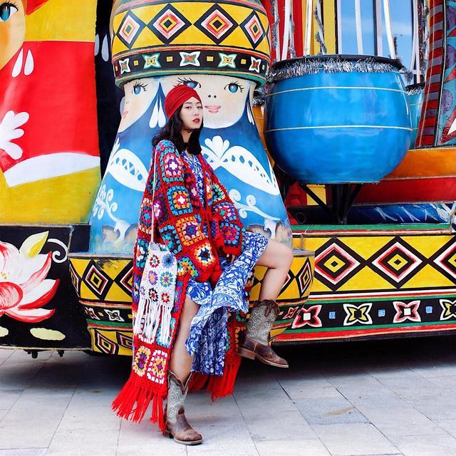 Nepalese Hand-Made Wool Hippie Crochet Box Stitching Ethnic Sweater Red Fringe Cardigan Long Coat 3