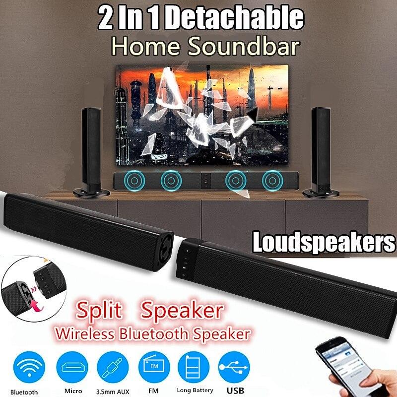 Sans fil Bluetooth haut-parleur 3D stéréo Home cinéma barre de son pliable fendu TV haut-parleur Subwoofer soutien TF FM AUX U disque colonne