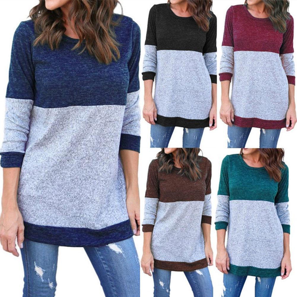 New 2019 Autumn Winter Sweater Women Round Neck Minimalist Fashionable Knitting Casual Stitching Color Sweater