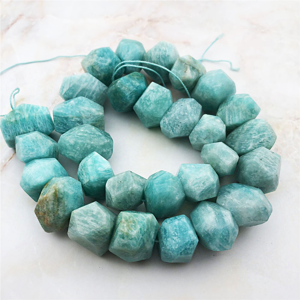 Fashion Natural Amazonite Stone Jewelry High Quality Irregular Sky Blue Amazon Freeform Faceted Shape Loose Beads Quartz Gem(China)
