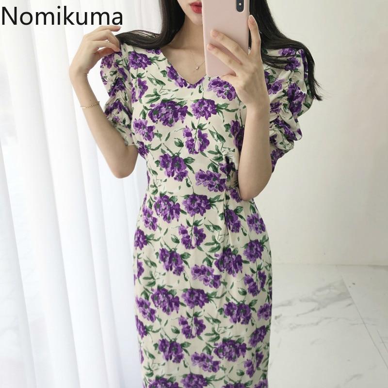 Nomikuma Korean Chic Floral Women Dress Short Puff Sleeve V-neck Midi Dresses 2020 Summer Vintage Slim Waist Vestidos 6A220