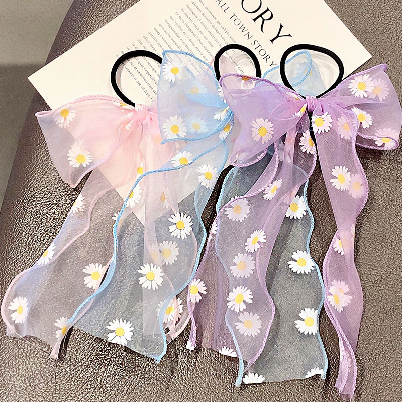 2020 New Summer Sweet Chiffon Bow Ribbon Flower Headband Ponytail Holder Cute Hair Ornament Rubber Band Fashion Hair Accessories