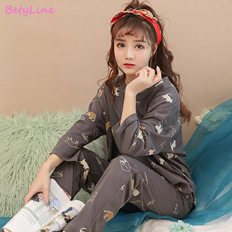 Women Pajamas Sets Nightgown Cotton Women Sleepwear For Autumn Long Sleeve And Pants Casual Women Clothes