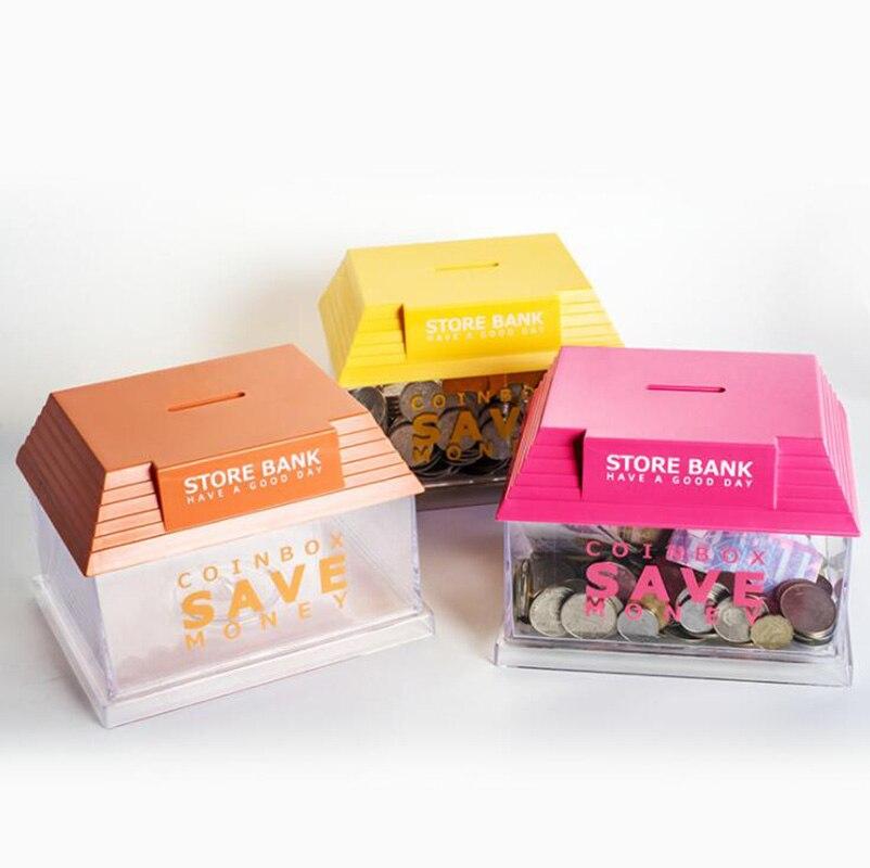 Hucha de estilo de tienda para niños, caja de almacenamiento de juguetes transparente, Caja de Ahorro para monedas, regalo multifuncional para niños