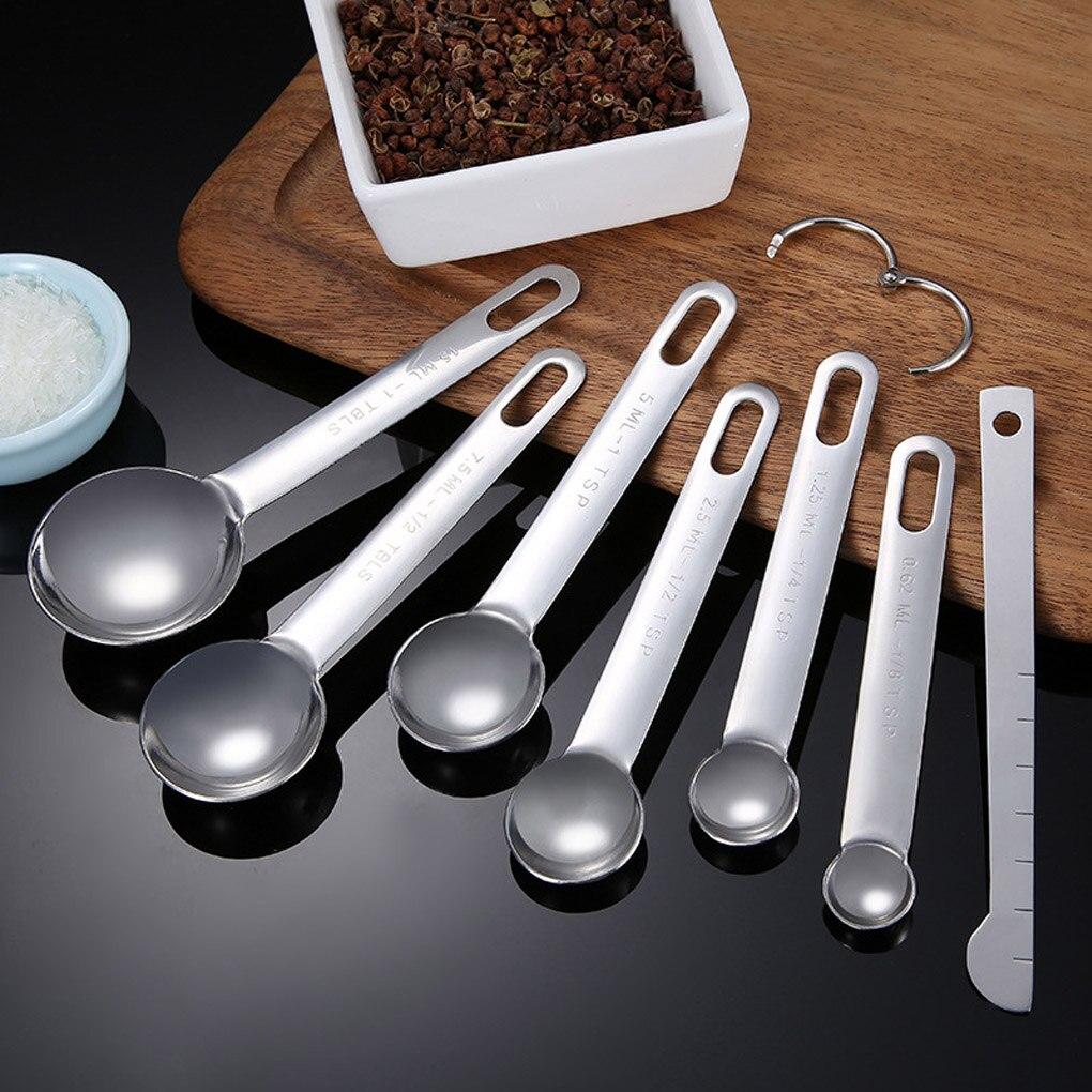 5 Size Stainless Steel Measuring Cup Spoon Baking Teaspoon Scoop Set #