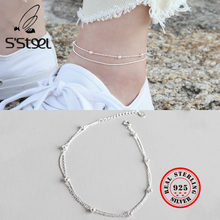 S'STEEL 925 Sterling Silver Anklets For Women Concise Beads Double-deck Chain Anklet Tornozeleira Feminina Boho Leg Fine Jewelry