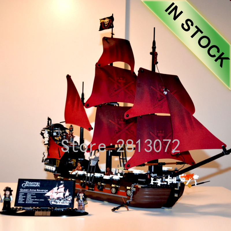 Pirate Ship Series Queen Anne's Revenge In Stock Building Block <font><b>1000</b></font>+<font><b>Pcs</b></font> Bricks Gift Ideas Caribbean Movie 39008 sy1199 16009 image