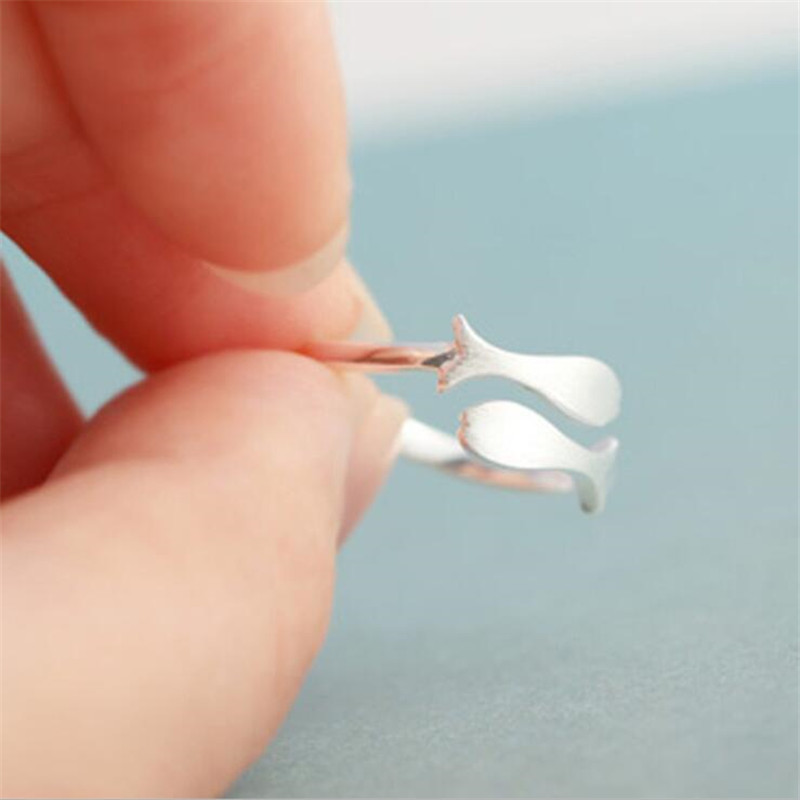 Creative Hot Cute Animal Fashion Jewelry 925 Sterling Silver Fine Drawing Small Fish Open Ring Anti-allergy    SR41