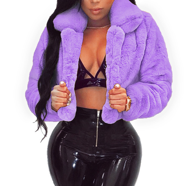 Casual Women Faux Fur Coats Long Sleeve Furry Cropped Jacket Open Stitch Fluffy Overcoat Plus Size XXL Outdoor Wear 2