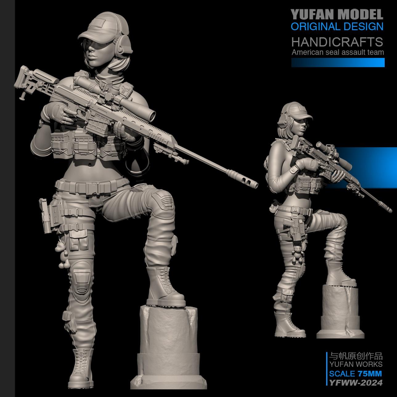 YUFan Model 1/24 Female Sniper Resin Soldier Self-assembled (75mm)YFWW-2024