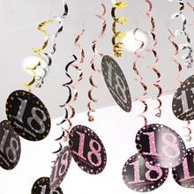 6PCS PVC ספירלת תליון 18 21 30 40 50 60 70 שנים משולב מסיבת יום הולדת דקור ספירלה תלויה קישוטים