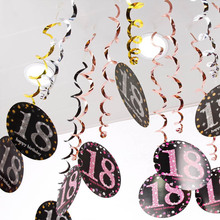 6PCS PVC Spiral Pendant 18 21 30 40 50 60 70 Years Old Multifunction Birthday Party Decor Spiral Hanging Ornaments