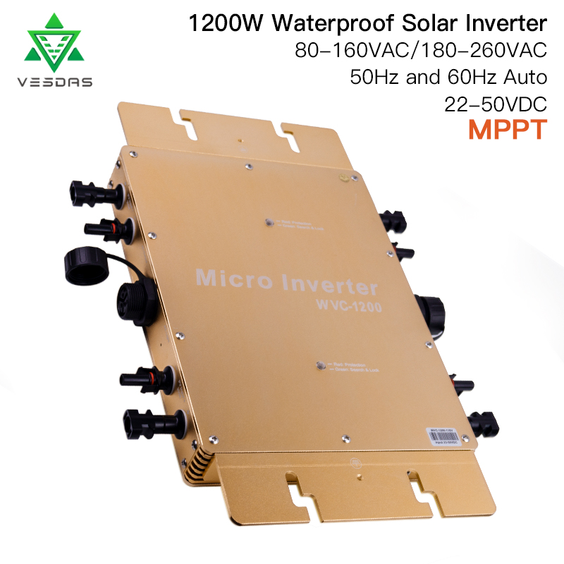1200W Waterproof on Grid Tie Inverter MPPT Smart Micro Solar inverter pure sine wave inverter DC 22-50V for solar system panels