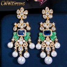 CWWZircons Flowers Cubic Zircon CZ Long Dangle Pearl Earrings for Women African Bridal Earring aretes de mujer modernos CZ656
