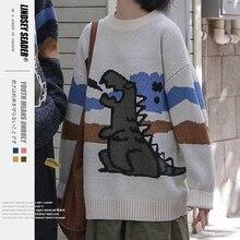 Women Mens Loose Dinosaur Sweater 2020 Autumn Korean Style Knitting Pull