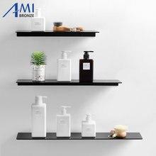 Черное пространство Алюминиевые полки для ванной Одиночная ярусная полка для шампуня кухонная полка для ванной комнаты