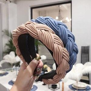 New Fashion Women Hairband Cross Knot Braid Headband Adult Autumn Winter Headwear Wide Side Turban Hair Accessories(China)