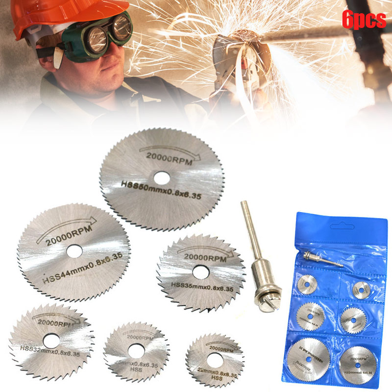Disc Drill Blades And Mandrel Set 6pcs High Speed Steel Circular Saw Blades 1pcs 3.2mm Mandrel  --M25