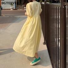 BGTEEVER Casual O-neck Puff-Sleeve Women Long Dress 2020 Summer Oversize Dots Female Dress Ladies Loose Vestidos Femme