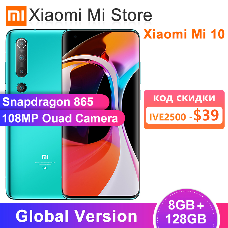 "Global Version Xiaomi Mi 10 8GB 128GB Mobile Phone 5G Smartphone 108MP Snapdragon 865 Octa Core 6.67"" AMOLED Display WIFI 6(China)"