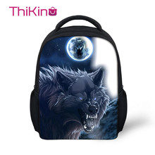 Thikin Moonlight Wolf School Backpack for Kids Boys Cartoon Storage Schoolbag Children  Girls Cute Shoulder Bags Travel Mochila