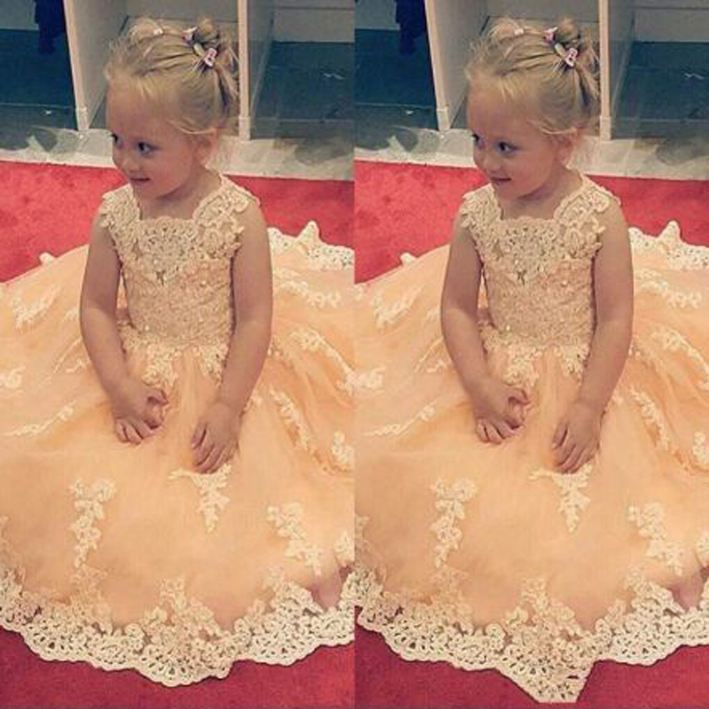 Cute Appliques Lace Beading Ball Gown   Flower     Girls     Dresses   Lovely Sequined Sleeveless O-neck Floor Length Communion Gown
