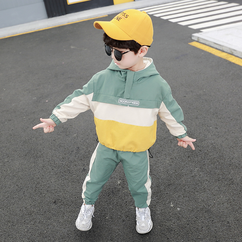 Children Clothing Hooded Boys' Tracksuit Clothes Set Patchwork Sport Suit Kid Zipper Jacket Long Pants Children Clothes Suit