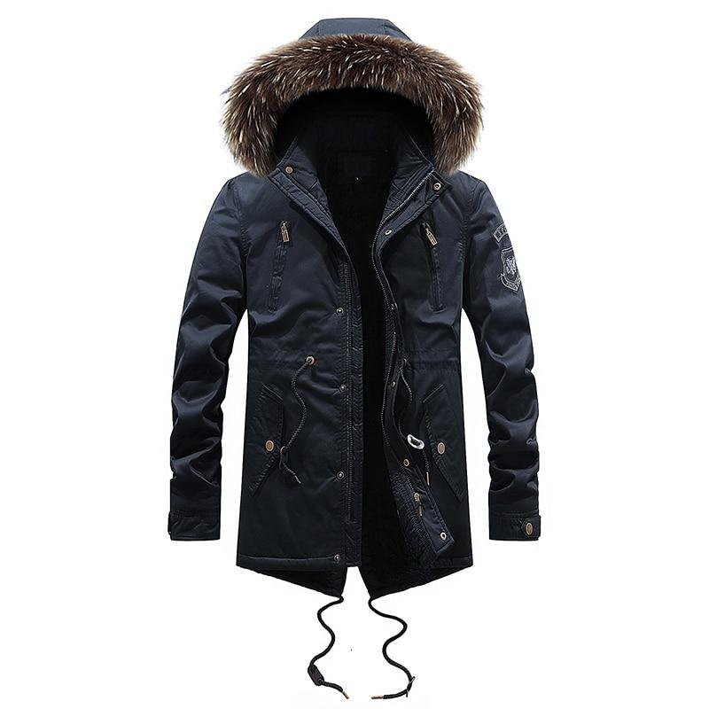 2019 mode hiver veste hommes col de fourrure épais à capuche manteau Outwear intérieur velours chaud Parka hommes longue Trench britannique doudoune