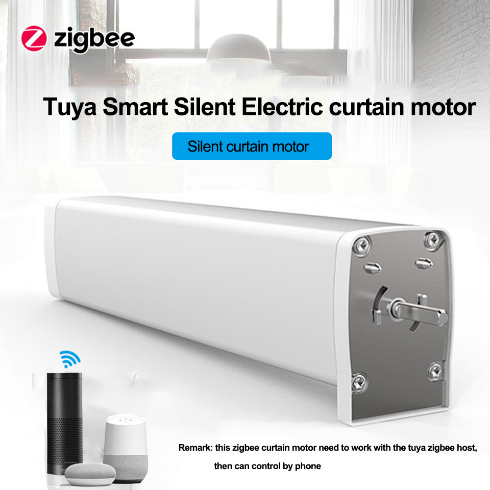 Tuya Smart Zigbee Curtain Motor APP Control Wireless Timing Electric Curtain Motor Work With Alexa/google Home For Smart Home