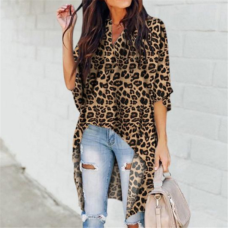 Women Office Lady V Neck Leopard Patterned Long Blouses Casual Half Flare Sleeve Loose Tops Plus Size