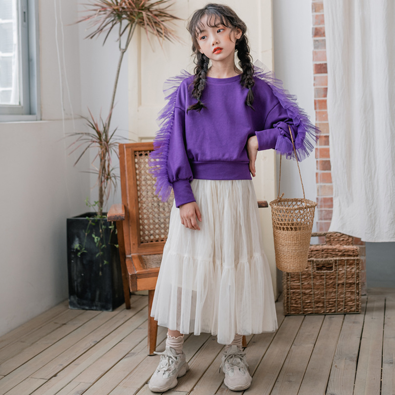 2020 Autumn and Winter New Mesh Girls Clothing Set Cute Princess Sweatshirt and Skirt Set Fashion Children Two Piece Set, #8236