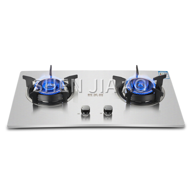 Desktop Natural Gas Liquefied Gas Stove Embedded Dual-purpose Gas Stove Thick Stainless Steel Brushed Panel Kitchen Stove