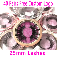 40Pairs Wholesale 25mm 5D Real Mink Custom Packaging Free Logo Long Lasting Mink Lash Natural Dramatic Eyelash Extention