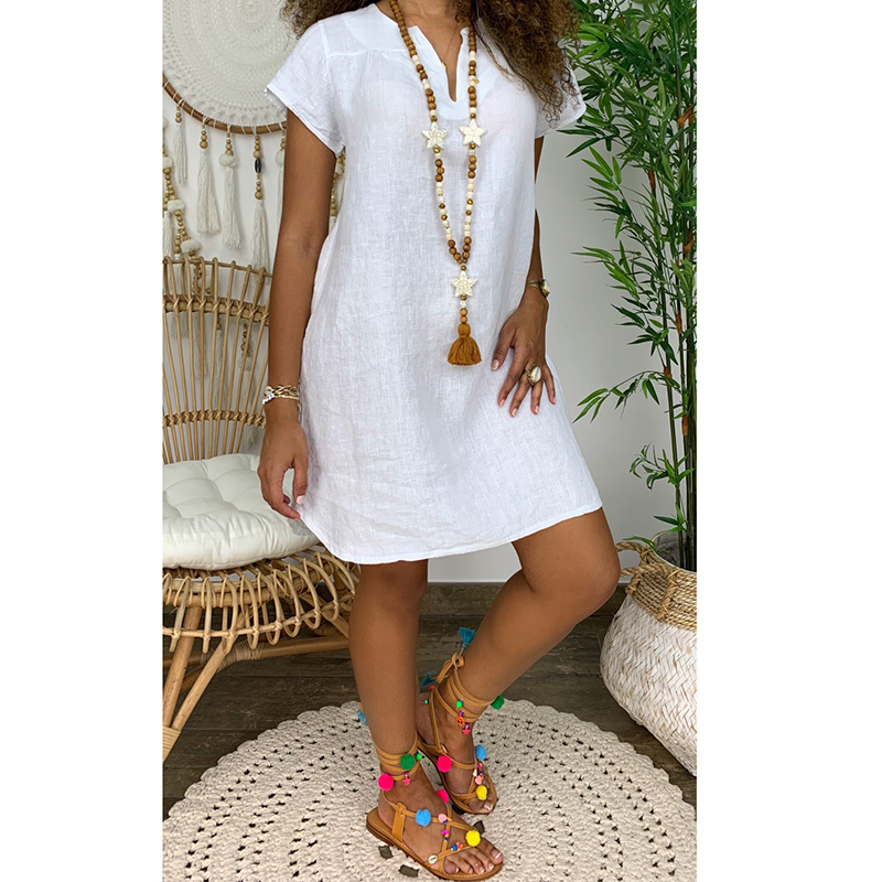 Las mujeres de manga corta vestido Casual vestido suelto de cuello en V de algodón vestido de lino, vestido de verano de 2021 playa vestido damas Streetwear de talla grande 5XL