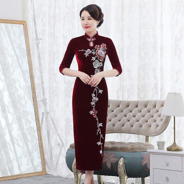 Inverno novo de veludo dourado cheongsam longo prego grânulo retro melhorado vermelho casamento brinde mãe de lei vestido mostrar alto grau