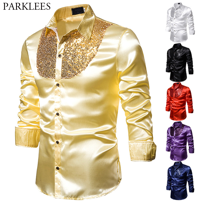 Mens Shiny Gold Sequins Patchwork Western Boy Shirts Casual Silk Slim Fit Men Silk Shirt Party Dance Stage Prom Festival Costume