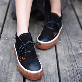 Artmu Original Flat Platform Short Boots Thick Soles Lace Up Genuine Leather Handmade Women Shoes Casual Outdoor Fashion Ins