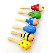 1 шт. Детские красочные деревянные Ручные погремушки песочный молоток ребенок шейкер ударный музыкальный инструмент малыш музыкальные вечерние игрушки