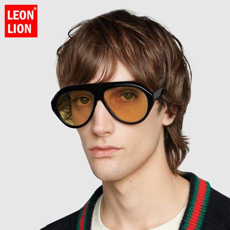 Leonlion 2021 vintage grande caixa de óculos de sol dos homens retro óculos de sol para homens oval selvagem marca compras rua batida oculos