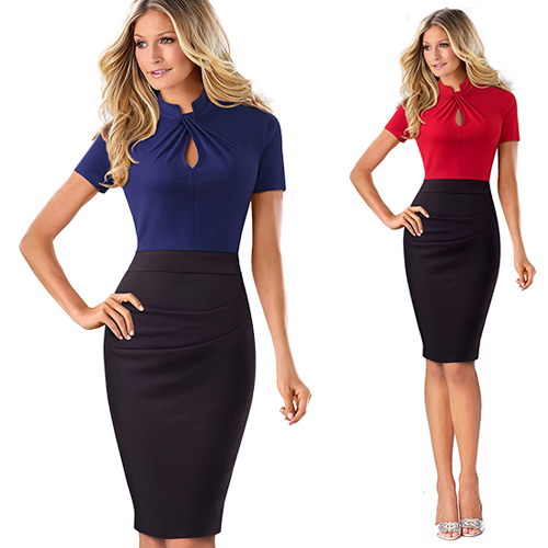 Elegant Work Office Business Drapped Contrasting Bodycon Slim Pencil Lady Dress Women Sexy Front Key Hole Summer Dress EB430 2