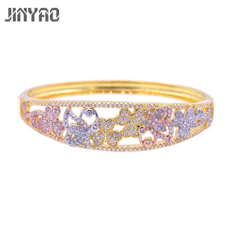 JINYAO Luxury Yellow Three Gold Color Butterfly AAA Zircon Cuff Bangle Bracelets For Women African/Arab Wedding Party Jewelry
